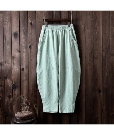 Women Cotton Linen Harem Pants Loose Trouser 2019 Autumn New Elastic Waist Solid Color Pockets Patchwork Women Pants - Beans...