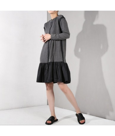 2019 New Spring Summer Round Neck Long Sleeve Hit Color Pleated Split Joint Temperament Dress Women Fashion Tide YF79001 - g...