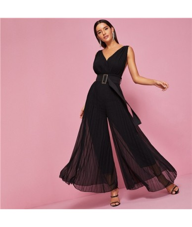 Backless Pleated Wide Leg Belted Jumpsuit Women High Waist Solid Maxi Jumpsuit 2019 Summer V neck Female Sexy Jumpsuits - Bl...
