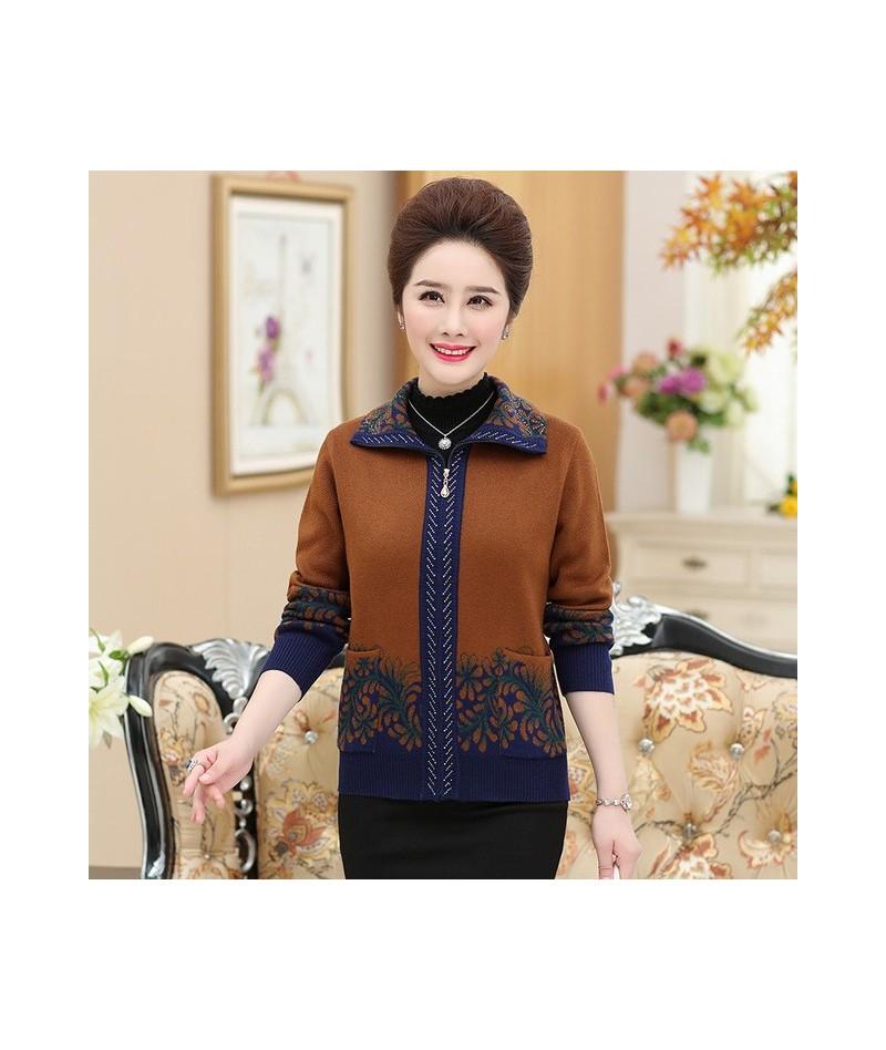 Cashmere Coat New Autumn Casual Turn Down Collar Cardigan Women Print Plus Size Sweater Zipper Outwear Coat - Orange - 4T301...