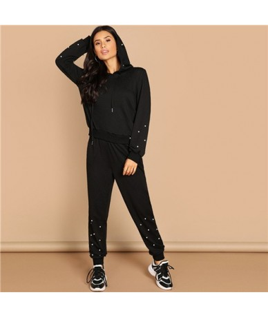 Black Casual Leisure Solid Pearl Beading Detail Hoodie Sweatshirt And Carrot Pants Set Autumn Modern Lady Women Two Pieces -...