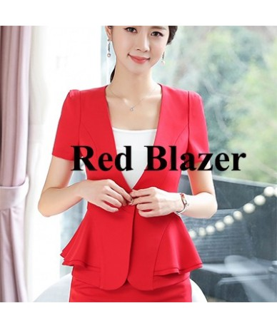 Women 2018 RUFFLES skirt suits Office Lady Summer Slim Blazers With Skirt Two Piece Set Business work Skirt Suits - Red Blaz...