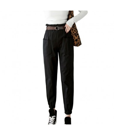 Black High Waist Cargo Pants Women Pockets Patchwork Loose Streetwear Pencil Pants 2019 Fashion Hip Hop Women's Trousers - c...