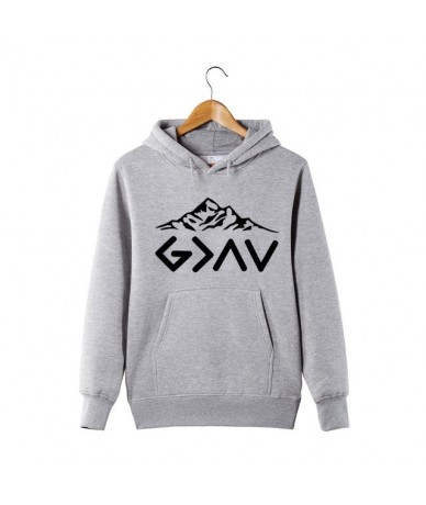 God is greater than my highs and lows Hoodie God is greater Hoodie Faith Hoodie Inspirational Mountains Hoodie - Gray - 4G30...