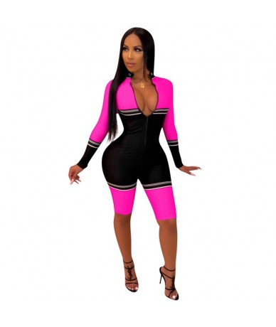 2019 Sexy bodysuit tracksuit rompers womens jumpsuit patchwork striped long sleeve skinny playsuits overalls combinaison fem...