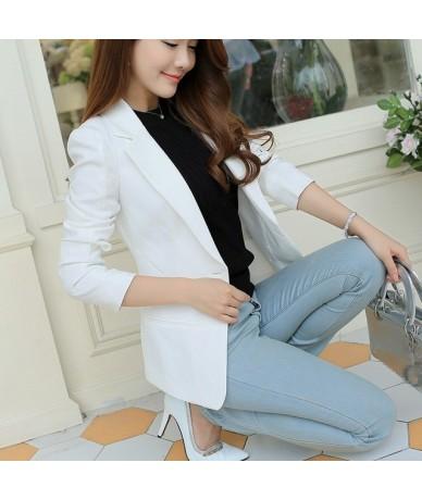2019 Plus Size Autumn Women One Button Slim Blazer Lady Long Sleeve Turndown Neck Suit Notched Solid Short Work Wear - White...