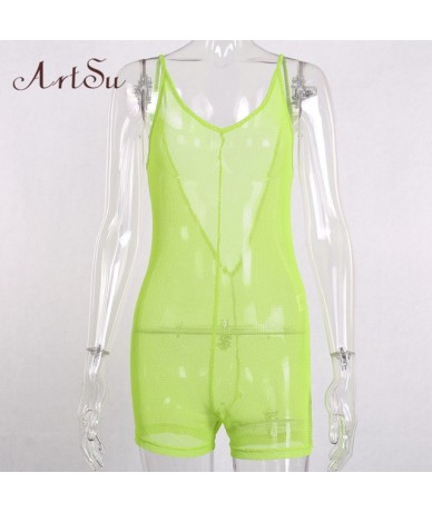 2019 Summer Neon Green Mesh Jumpsuit Kort Sexy Sleeveless Backless Beach Overalls Romper Women Body Mujer Black ASJU20420 - ...