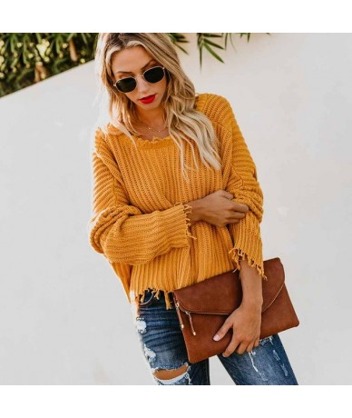 2019 Knitted Sweater Autumn Winter Women Ripped V Neck Loose Sweater Pullovers Ladies Solid Color Femme Fashion Tassel Sweat...