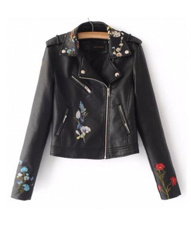 Embroidery female 2018 autumn new Korean version of the lapel locomotive PU leather short-sleeved lapel jacket Yellow pink C...