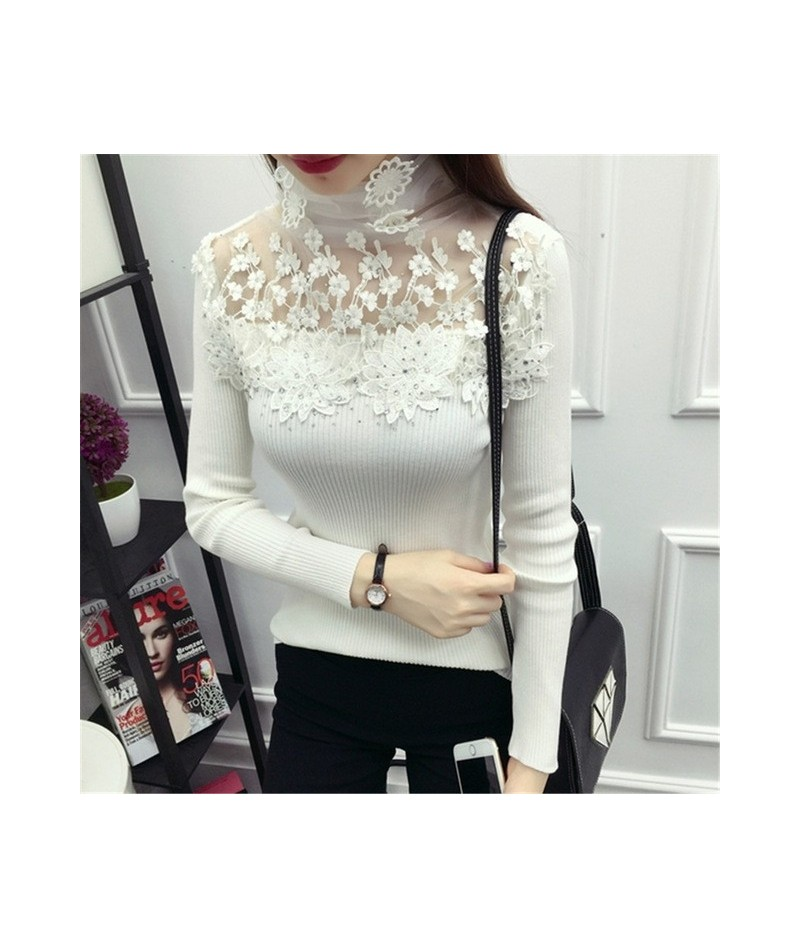 New Women Turtleneck Sweater Autumn Winter Mesh Patchwork Knitted Pullovers Flowers butterfly Basic Sweaters Female Tops AB7...
