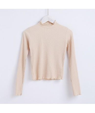 Women Cotton High Neck Long Sleeve Rib Crop Top With Ruffled Trimmings High Neck T-shirt - beige - 4K3937980050-4