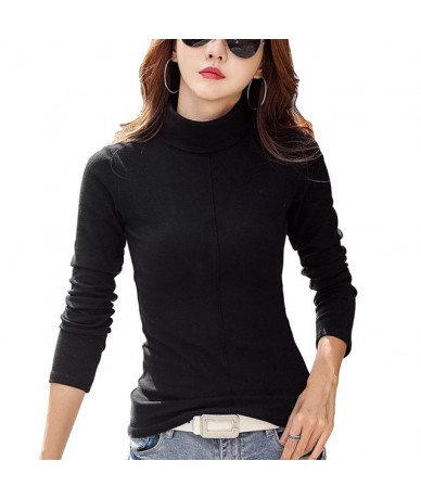 Women Winter Slim Sweater Fashion Elastic Skinny Turtle Neck Basic Tops Pullover Long Sleeve Sweater Solid Bodycon Soft - Bl...