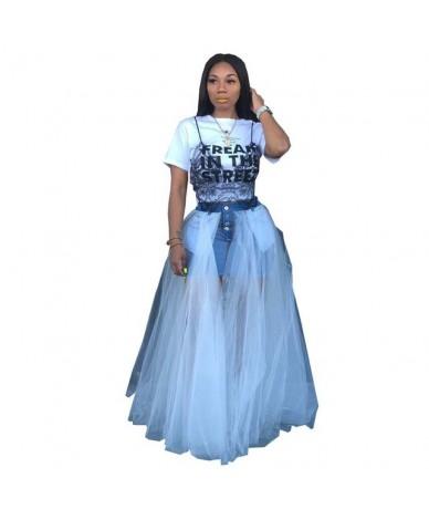 Fashion Jean Patchwork Mesh Maxi Skirt Women Ball Gown Mesh High Waist Jean Skirt Bandage Streetwear Partyclub - White - 4B4...