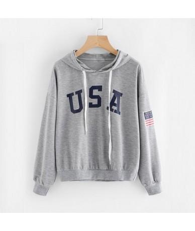 Womens Casual Loose Sweatshirt Tops Women's Hoodies New Arrival Hot Printing Letters Long-sleeved Pullovers - Grey - 4M41597...