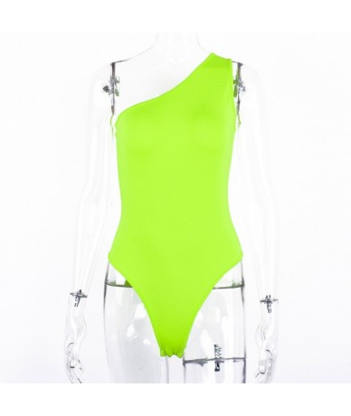 2019 summer women bodysuit one shoulder sexy one piece streetwear rompers festival party clothes body skinny large size - Gr...