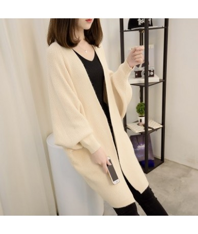 New arrive 2019 Women Sweater Cardigan Female Cashmere Knitted Plus Size Coat Fashion Long Sleeve Loose Sweater - rice white...