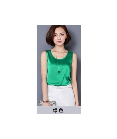 2019 new fashion 14 kinds of color summer style classic satin tank top women sleeveles women's silk vest simple women's shir...