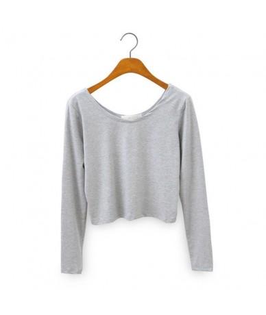 Gray Black Fashion Long Sleeve White Women Short T-Shirt Solid Sexy O-neck Colors - Gray - 4Q3010923909-2