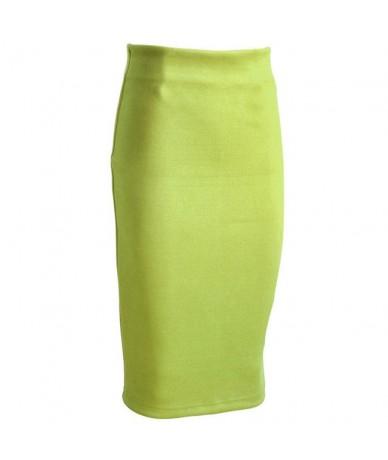 Sainishi Super Deals Women Suede Solid Color Pencil Skirt Female Spring Autumn Basic High Waist Bodycon Split Knee Length Sk...