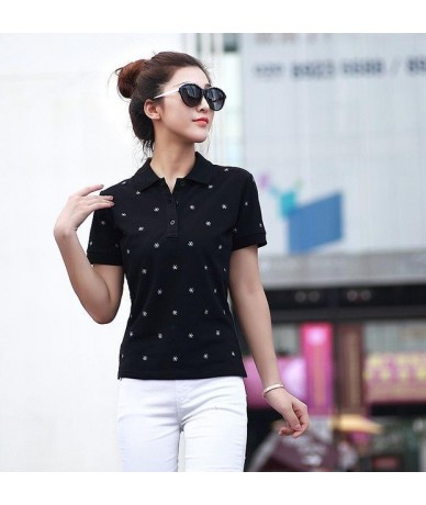 women polo shirts summer S-4XL female tops tees snow embroider clothing short sleeve slim fashion ladies clothes ly59 - as p...