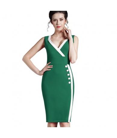 Summer Elegant Women Round Neck Zipper Wear to Work Formal dress Bodycon Sheath Casual Wiggle Button Dresses 682 - green - 4...