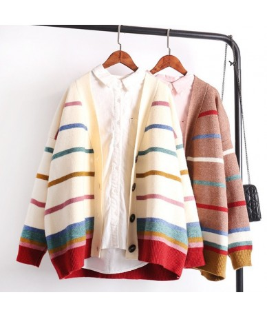 Women Cardigans and Sweater 2018 Girls Colorful Rainbow Striped Knitted Cardigans Oversized Spring Autumn Knit Jacket Coat -...
