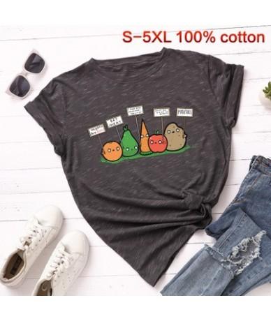Vegan Basic T-shirt Women Fashion Harajuku fruit basic tops casual vegetable Tees summer oversized print cotton tshirt - mar...