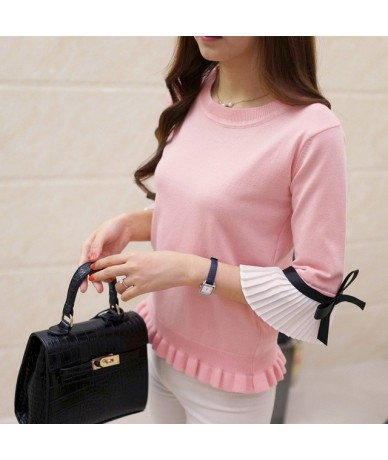 2019 NEW Fashion spring autumn women sweater Chiffon Flare Sleeve bow Pullover Slim sweaters women High Quality Tops - pink ...