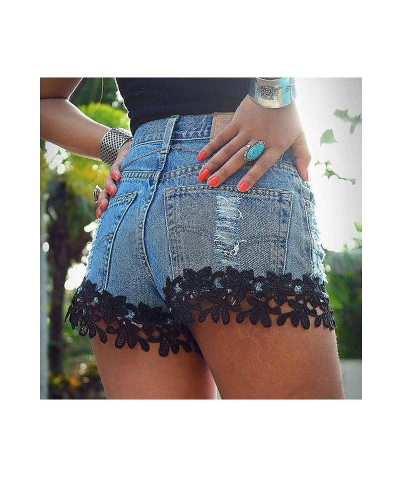 High Waist Lace Hot Shorts 2019 Summer Women's Beach Resort Bohemia Short Jeans Hole Washed Street Denim Shorts Female - Bla...