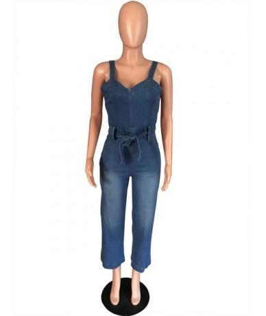 7/8 Jeans Woman Wide Leg Women Jeans Denim Jumper Pants High Waist Overalls Suspender Jeans Casual Mom Jeans 2019 Trouser - ...
