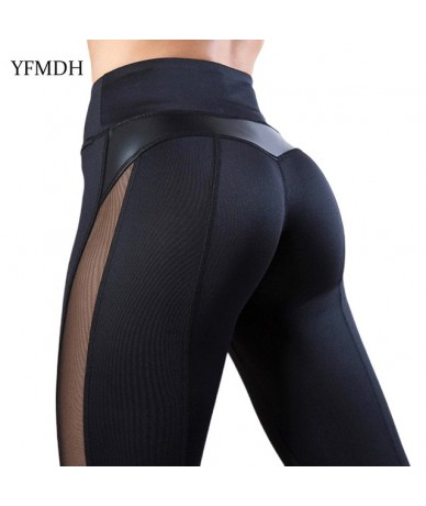 Sexy Women Leggings Patchwork Mesh Black Workout Casual Plus Size Fitness Sport Pants Trousers 2019 Spring Summer Female Pan...
