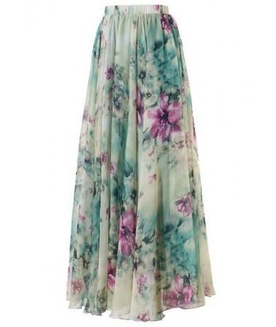 New 2018 BOHO Women Floral Print Pleated Long Maxi Full Skirt Summer Ankle Length Beach Sundresses - a - 413942006959-1