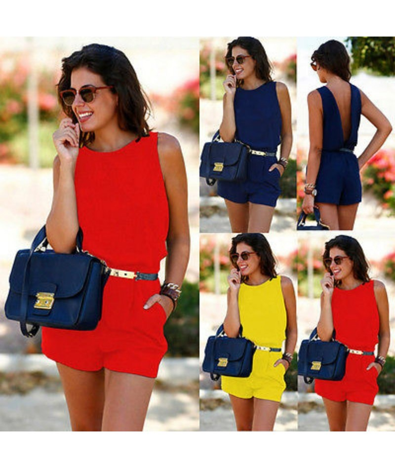 New Women Summer Playsuit Bodycon Clubwear Evening Party Blackless Jumpsuit Pocket Romper Trousers Yellow Blue Red - YELLOW ...