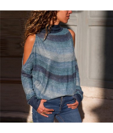 Fashion Ladies Fall Autumn Warm Causal Cotton Women Striped Turtle Neck Long Sleeve Casual Loose Pullover Shirt Blouse - blu...