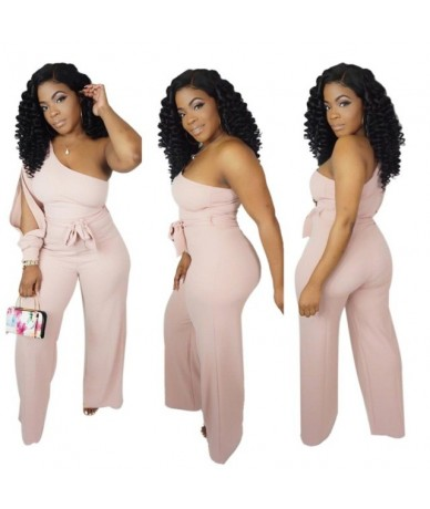 Fashion One Shoulder Jumpsuit Women Sexy Bodycon Wide Leg Bodysuit Female Pure Color Elegant Casual Overall Trouser - pink -...