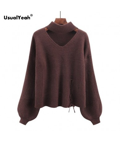 Fashion Lace Up Autumn Winter Women Sweater Jumper Pullover Cut Out V Neck Lantern Sleeve Chunky Choker Sweaters - brown - 4...