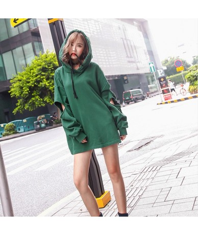 Autumn Solid Sweatshirt For Women Hooded Collar Long Sleeve Hold Casual Loose Big Size Sweatshirts Female Fashion New - Gree...