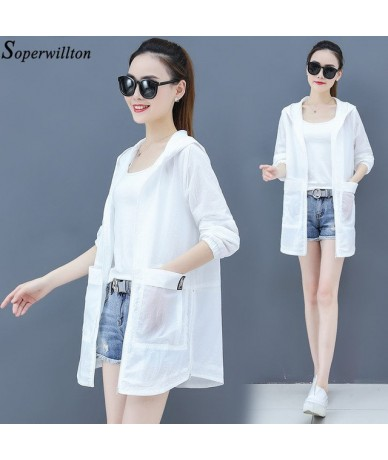 Summer Hooded Jacket Women Casual Wear Sun Protection Clothing Plus Size Thin Coat Loose Jacket Cardigan Green White Pocket ...