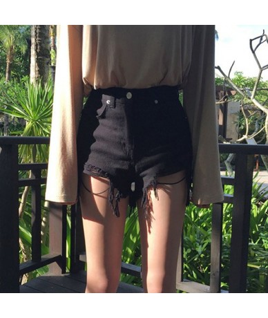 Women's Summer Shorts Denim Sexy Light Blue Distressed Hight Waisted Black Ripped Jeans Sexy Short For Women - Black - 4S300...