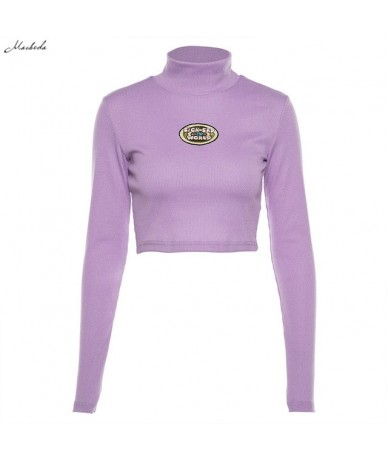 Casual Slim T Shirt Women Long Sleeve Tees Shirt Letter Embroidery T Shirt Turtleneck Autumn Purple Fashion T-shirt New - Pu...