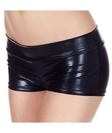 PU Women Summer Short Trouser Funny Imitation Leather Flat Angle Women Fashion Sexy Shorts - V - 423935554106-1