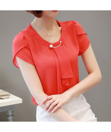 Blouse Women Chiffon Short Sleeve Shirt Summer Womens Tops And Blouses O-Neck Elegant Ladies Clothing Work Top 2019 - Red - ...