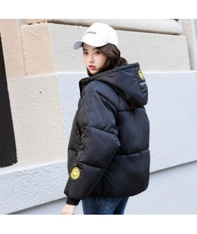 Harajuku Style Hooded Parkas Woman 2019 New Smiley Embroidery Short Puffer Jacket Women Winter Jackets Cotton Padded Coat - ...