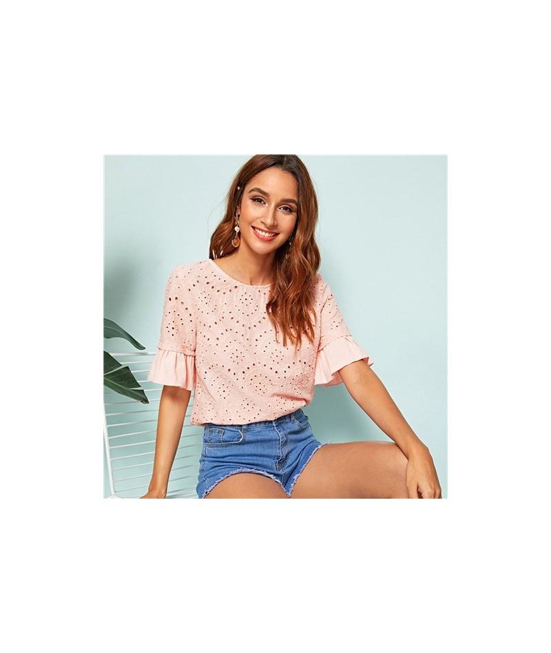 Pink Eyelet Embroidery Bell Sleeve Ruffle Elegant Schiffy Top Women Blouse Shirt 2019 Summer Korean Sweet Girly Blouses - Pi...