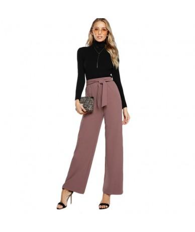Self Tie Waist Palazzo Pants Pink Elegant High Waist Pants Autumn Trousers Women Elastic Waist Casual Pants - Pink - 4439492...