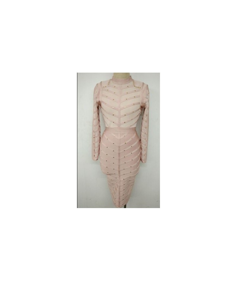 2016 high quality new sexy fashion women wholesale pink grey black olive green long sleeve beaded bandage dress Dress + suit...