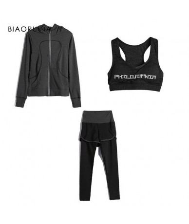 Women Basic Contrast Color Stretching 3 Pieces Set Active Wear Fashion Bras + Fashion Jacket Thin Coat + Casual Pant - Gray ...