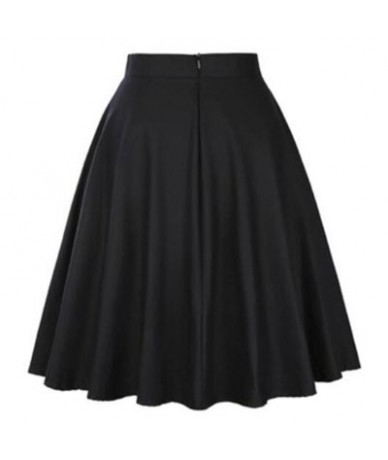 Cotton Women Retro Pleated Skirts 50s Kawai Vintage Rockabilly Swing Flamingo Printed High Waist Casual Tutu Summer Skater S...