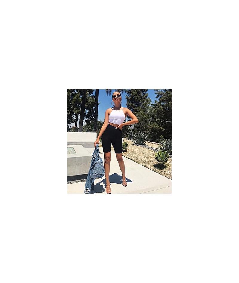 Women Streetwear Sexy Skinny Shorts 2018 New Summer Style Elastic High Waist Push Up Bodycon Fitness Shorts - Black - 413044...