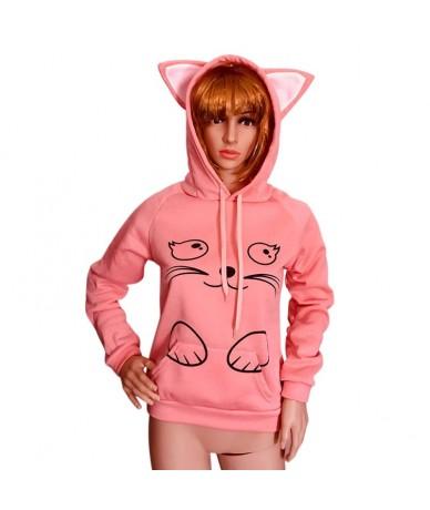 Autumn Winter Women Hoodies Long Sleeve Sweatshirt Cat Printing Pocket Lady Casual Hooded Pullovers FDC99 - Pink - 424159672...